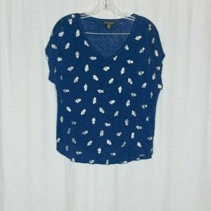 Tommy Bahama Blue Silver Pineapple Semi Sheer Top